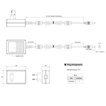 Mean Well GST36E24-P1J Stecker-Netzteil 24Vdc / 1,5A / 36W / IP41 / Schwarz – Bild 2
