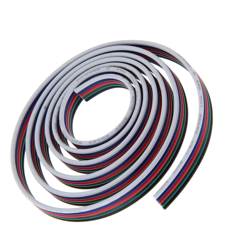 5x 0,5 mm² 20 AWG RGB-W  Anschlußkabel 5-adrig, Verlängerungskabel, METERWARE
