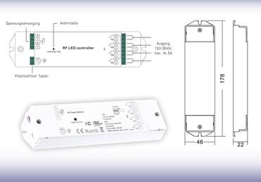 SET: EK-N LED RF Funk Dimmer 12-36V oder Fernbedienung Stufenlos 1 / 5 / 10 Zonen Helligkeit Regler  – Bild 4