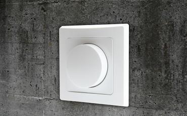 LED Dreh Dimmer Schalter für elektronische Trafos 230V 20-300W, Lampen GU10 UP inkl. Rahmen, weiß – Bild 1