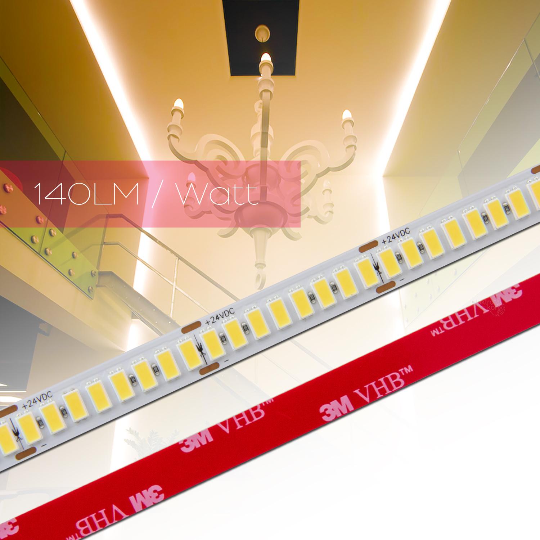 ✅ 0,5 bis 20m 140LM/Watt LED Strip Flex Band RA 90+, Leiste Streifen WARM WEIß 5630 224 LED/m 24Vdc 001