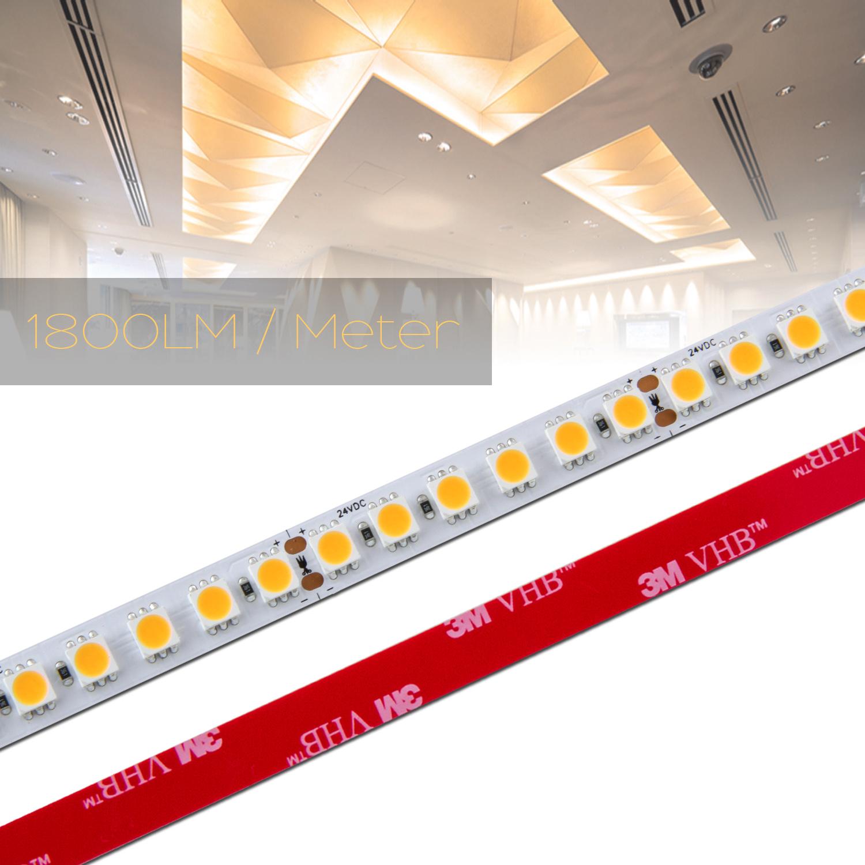 0,5 bis 20m 120 LED/m LED Strip Flex Band RA 90+, Leiste 23Watt, Streifen WARM WEIß 5050 24Vdc