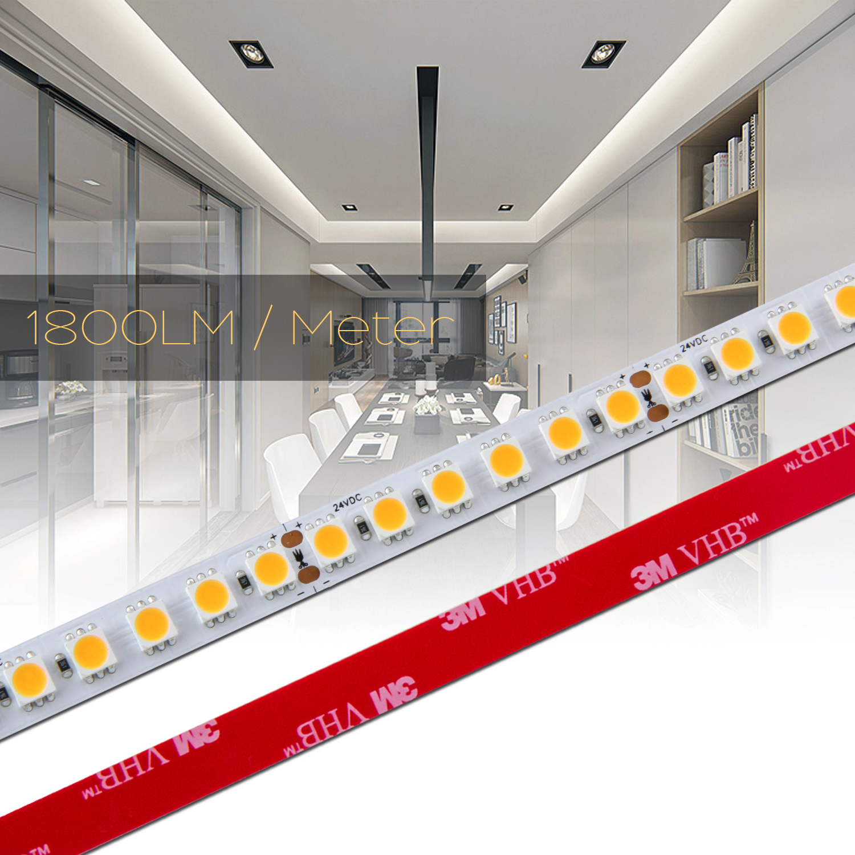 0,5 bis 20m 120 LED/m LED Strip Flex Band RA 90+, Leiste 23Watt, Streifen NEUTRAL WEIß 5050 24Vdc