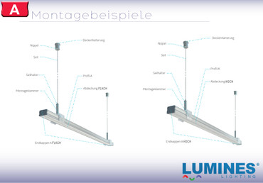"""Komplet-Set von 0,5m bis 2m, LED ALU PROFIL """"LUMINES A"""" FLACH + Abdeckung + Endkappen + Montageklammer – Bild 8"""