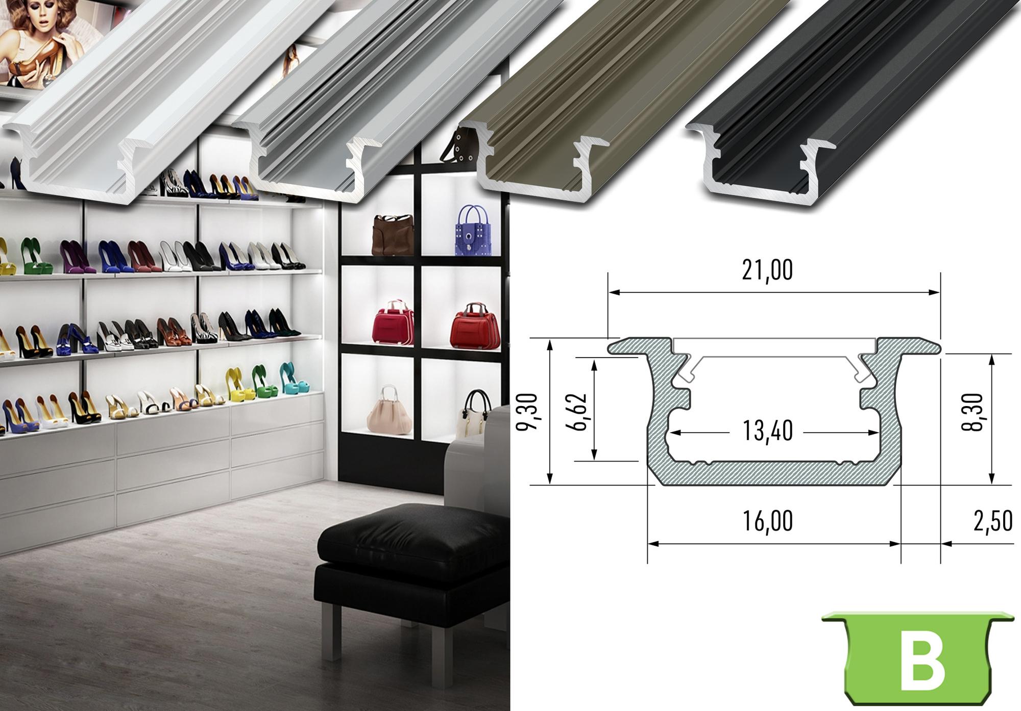 """Komplet-Set von 0,5m bis 2m, LED Einbau ALU PROFIL """"LUMINES B"""" FLACH + Abdeckung + Endkappen 001"""