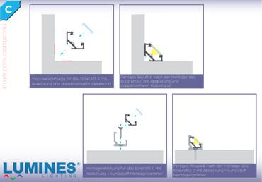 """Komplet-Set von 0,5m bis 2m, LED ALU PROFIL """"LUMINES C"""" 45° + Abdeckung + Endkappen + Montageklammer – Bild 10"""