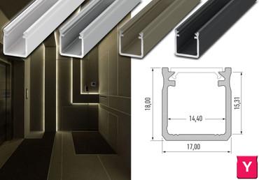 """Komplet-Set von 0,5m bis 2m, LED ALU PROFIL """"LUMINES Y"""" HOCH + Abdeckung + Endkappen + Montageklammer – Bild 1"""