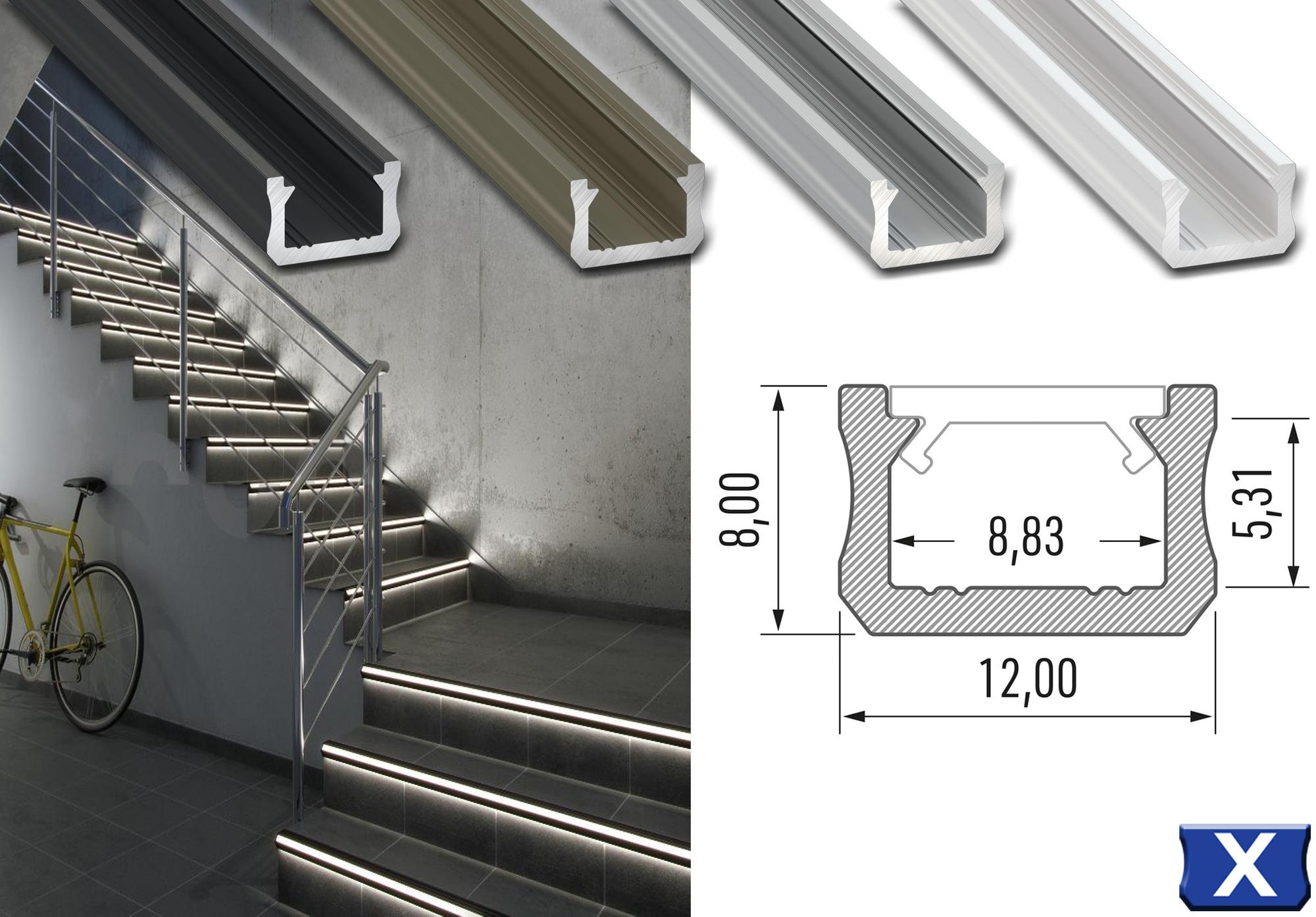 """Komplet-Set von 0,5m bis 2m, LED ALU PROFIL """"LUMINES X"""" MINI + Abdeckung + Endkappen + Montageklammer"""