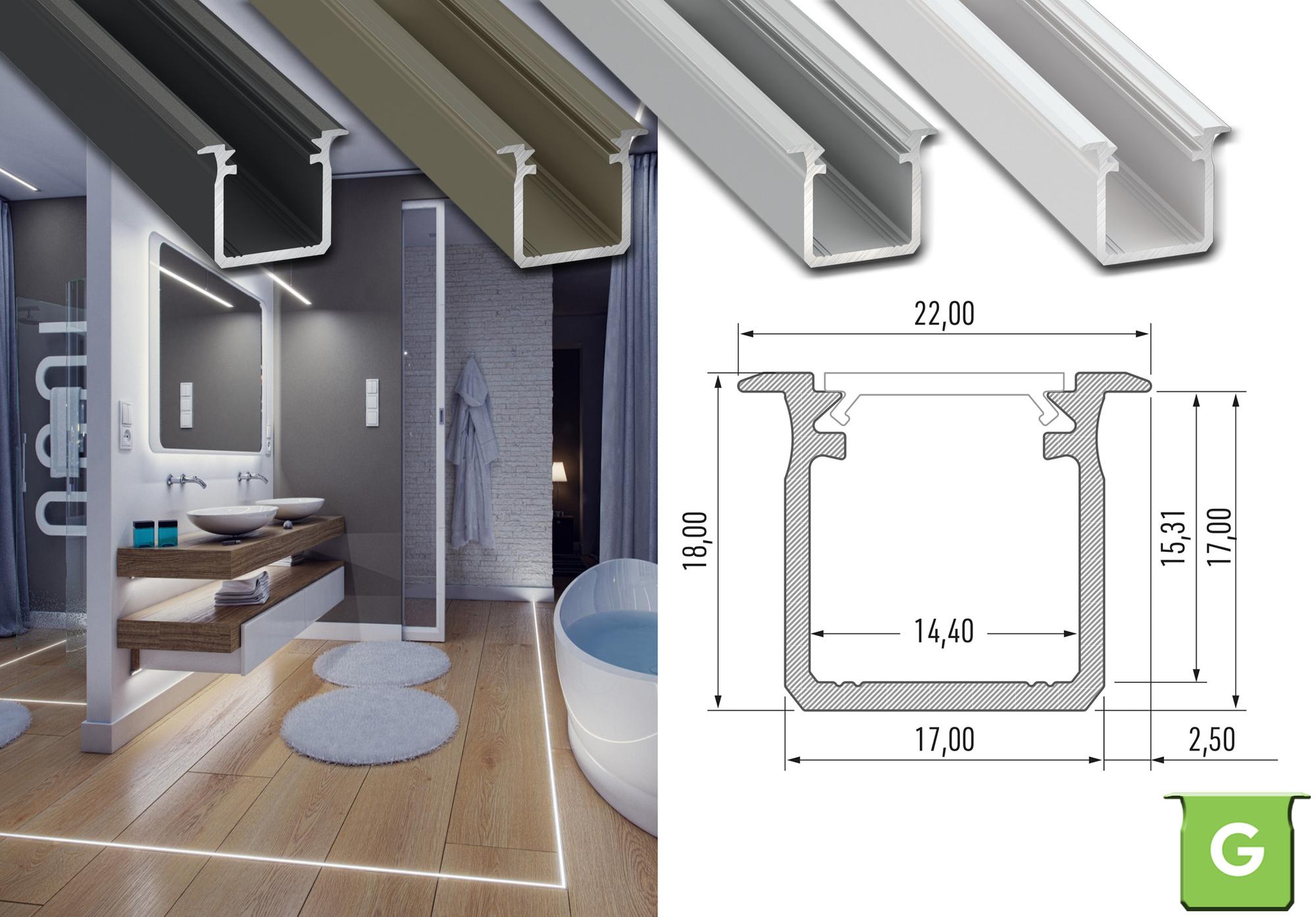 """Komplet-Set von 0,5m bis 2m, LED Einbau ALU PROFIL """"LUMINES G"""" HOCH + Abdeckung + Endkappen 001"""