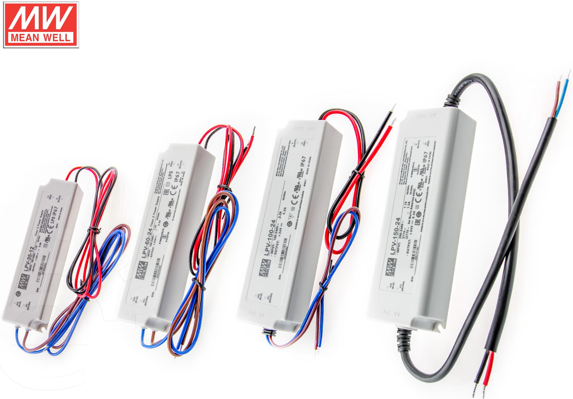 LPV- Serie MEANWELL IP67 5V 12V 24V 48V 20W - 153,6Watt LED Netzteil Schaltnetzteil Trafo Netzgerät Außen