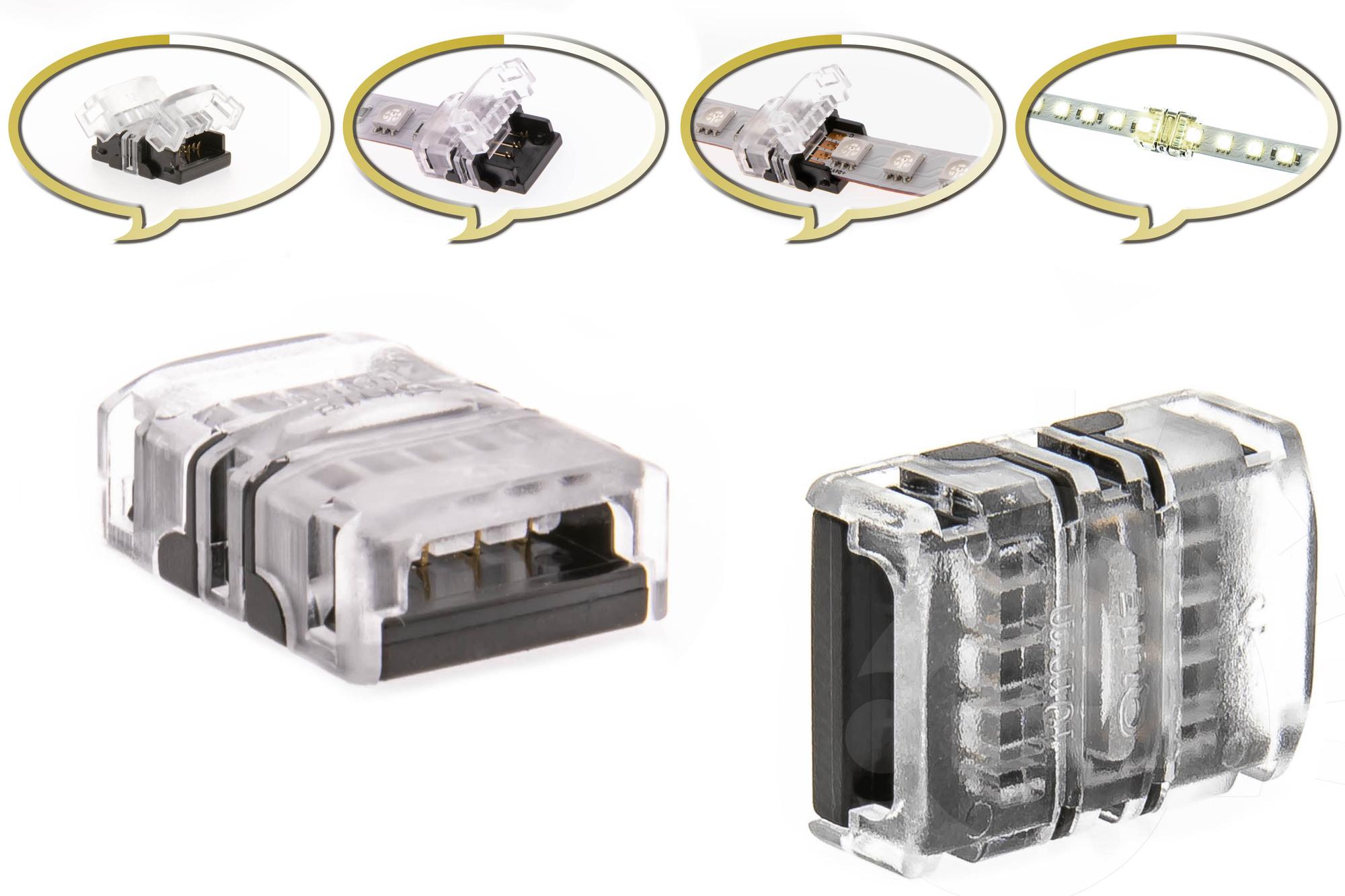 10mm LED Dualweiß Schnell Verbinder für Streifen 3-Pin Adapter Strip / Stripe Direkt