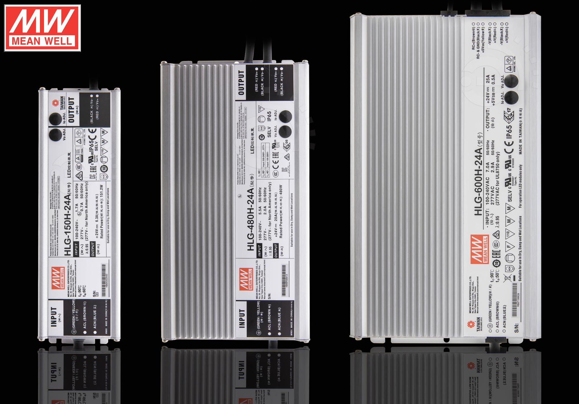 LED Netzteil MeanWell HLG- Serie 12 15 20 24 30 36 42 48 54V Schaltnetzteil IP65