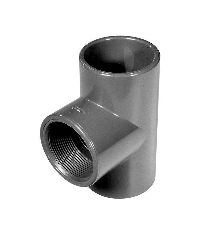 PVC-T-Stück 90° mit Innengewinde