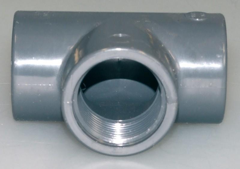 PVC-T-Stück 90° 3x Innengewinde