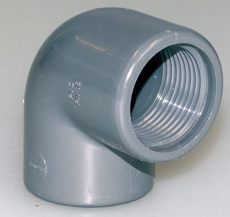 PVC-Winkel 90° mit doppeltem Innengewinde