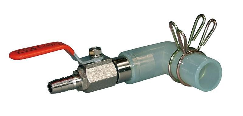 Absperrhahn mit Gummitülle für 9 mm Luftschlauch