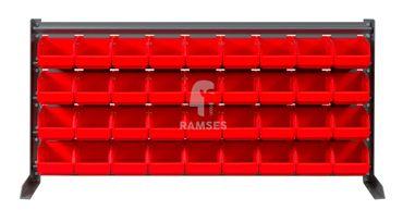 EisenRon DS-tec - Kleinteileregal  Farbe: rot 36 rote Lagerboxen 160 X 95 X 75 mm Höhe: 47 cm Breite: 102,5 cm