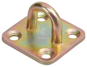 EisenRon DS-tec - Krampen auf Platte für Überfallen 35 x 35 mm Stahl verzinkt  1 Stück