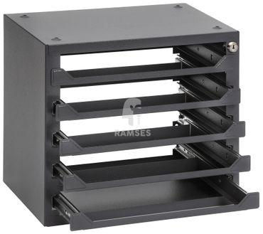 EisenRon DS-tec - Sortimenteschrank  5 Fächer  39 X 25,5 X 36 cm Farbe: schiefergrau RAL 7015