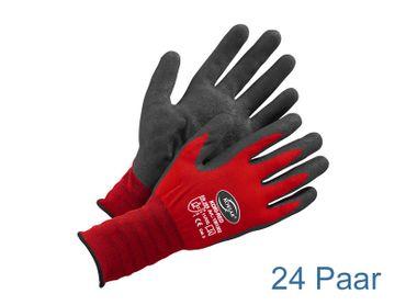Arbeitsschutzhandschuhe schwarz / rot -  24 Paar KORSAR® Kori-Red Größe 9 / L