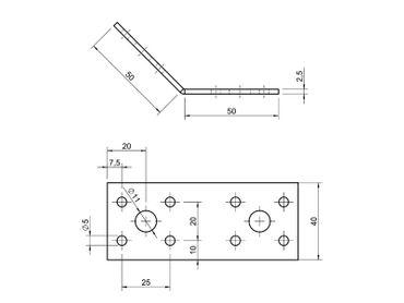 Winkelverbinder 135 Grad 50 X 50 X 40 X 2,5 mm Stahl verzinkt – Bild 2