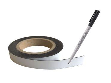 Magnetstreifen weiß 5 m x 19 mm beschreibbar auf Rolle incl. Stift Etiketten