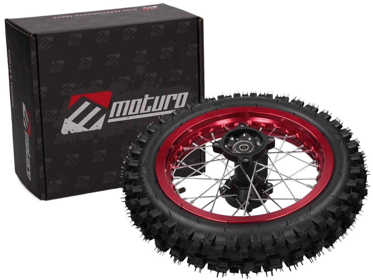 moturo komplettrad hinten 12 rot f r dirt bike agb29. Black Bedroom Furniture Sets. Home Design Ideas