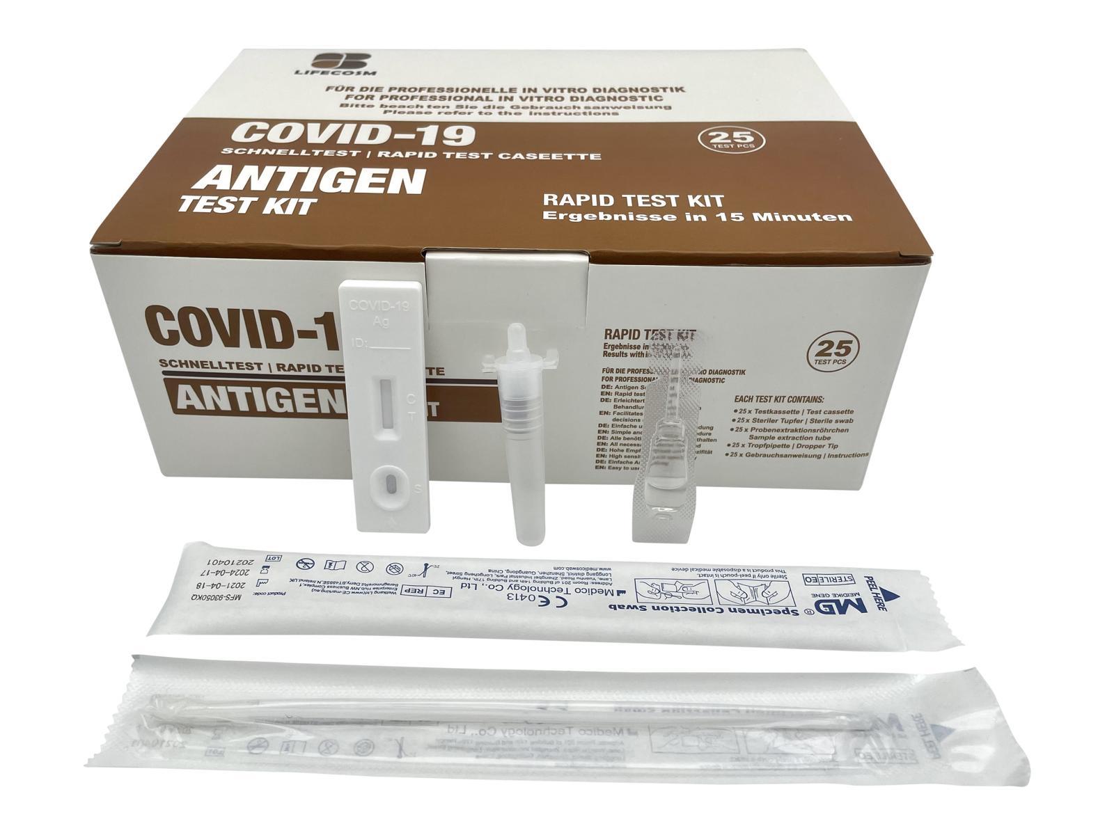 Antigen-Schnelltest COVID-19 Nasenabstrichtest LIFECOSM - 25 Stück - SARS-CoV-2