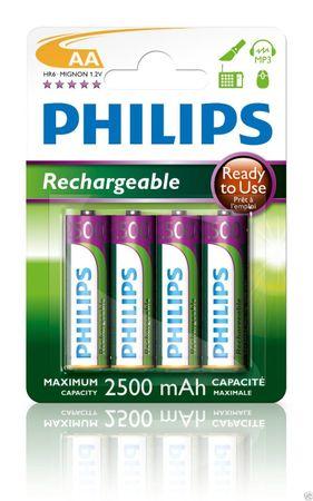 Philips R6B4RTU25/10 Akku AA (2500mAh, 1,2V, 4-er Blister)