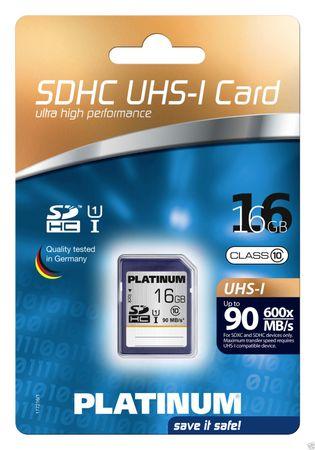 Platinum 16 GB SDHC UHS-I class 10 Speicherkarte 600x (177216)