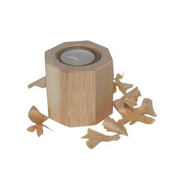 Zirben Teelicht 8eckig 7,2/7,2/7 aus Zirbenholz