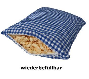 Zirbenkissen blau kariert befüllt mit Zirbenflocken aus 100% Alpen Zirbenholz  30x20 cm (Karo) – Bild 3