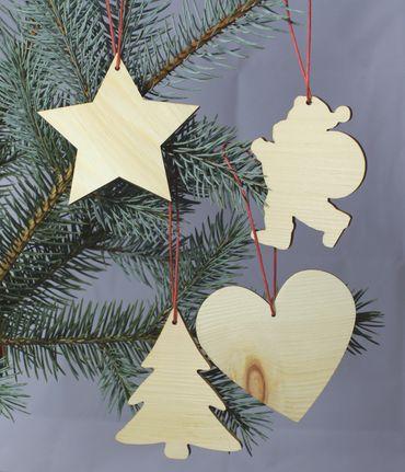 4er Set Zirbenholz Christbaum-Schmuck (Herz, Stern, Weihnachtsmann, Tannenbaum) gebürstet mit rotem Baumwollband Weihnachtsdekoration  Holz-Anhänger als Dekoration für Ihren Weihnachtsbaum Baumschmuck Baumbehang – Bild 1