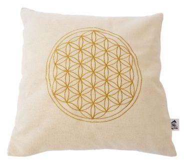 Blume des Lebens - Kissenhülle  -  bestickt mit Lebensblume gold gelb 100% Baumwolle