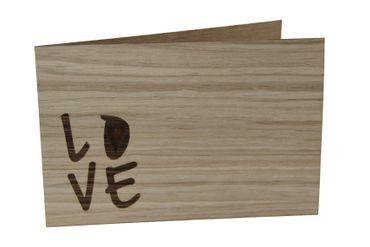 Holzgrußkarte - LOVE - 100% handmade in Österreich - Postkarte, Geschenkkarte, Grußkarte, Klappkarte, Karte, Einladung
