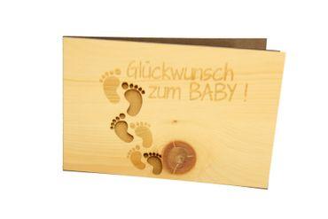 Holzgrußkarte - GLÜCKWUNSCH ZUM BABY - 100% handmade in Österreich - Postkarte, Geschenkkarte, Grußkarte, Klappkarte, Karte, Einladung – Bild 1