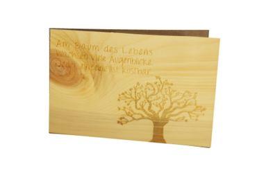 Holzgrußkarte - BAUM DES LEBENS - 100% handmade in Österreich - Postkarte, Geschenkkarte, Grußkarte, Klappkarte, Karte, Einladung – Bild 1