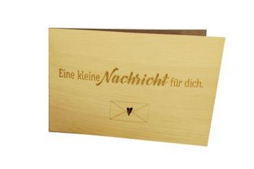 Holzgrußkarte - NACHRICHT FÜR DICH - 100% handmade in Österreich - Postkarte, Geschenkkarte, Grußkarte, Klappkarte, Karte, Einladung