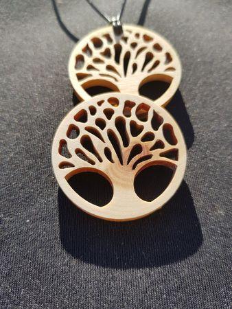 Lebensbaum, Baum des Lebens Kette-Anhänger 40mm aus Zirbenholz mit Lederband tree of life Holz – Bild 2