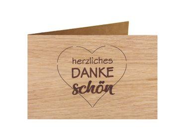 Holzgrußkarte - Dankeskarte- 100% handmade in Österreich - Postkarte  Glückwunschkarte Geschenkkarte Grußkarte Klappkarte Karte Einladung