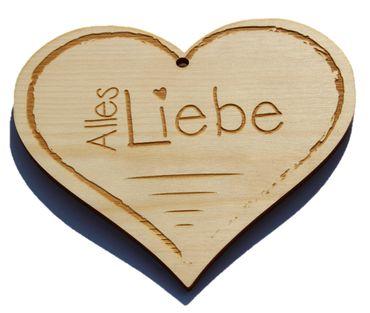 Zirbenherz - Alles Liebe  - Spruch Geschenk aus Zirbenholz Holz