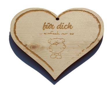 Zirbenherz - für Dich - Spruch Geschenk aus Zirbenholz Holz inkl. Band zum Aufhängen – Bild 1