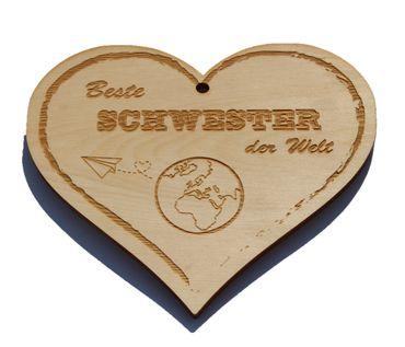 Zirbenherz - Beste Schwester der Welt - Spruch Geschenk aus Zirbenholz Holz inkl. Band zum Aufhängen – Bild 1