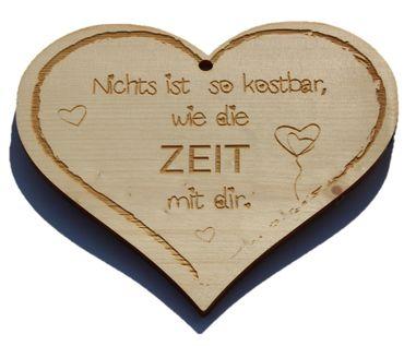 Zirbenherz - Nichts ist so kostbar wie die Zeit mit Dir - Spruch Geschenk aus Zirbenholz Holz inkl. Band zum Aufhängen