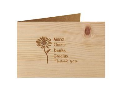 Holzgrußkarte - DANKE - 100% handmade in Österreich - Postkarte, Geschenkkarte, Grußkarte, Klappkarte, Karte, Einladung