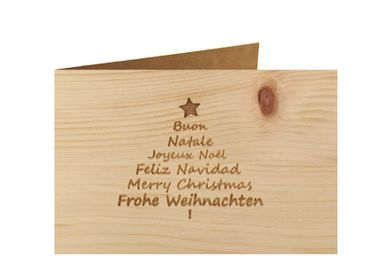 Holzgrußkarte - Frohe Weihnachten - 100% handmade in Österreich - Postkarte, Geschenkkarte, Grußkarte, Klappkarte, Karte, Einladung