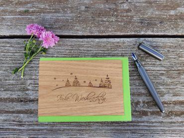 Holzgrußkarte - Frohe Weihnachten - 100% handmade in Österreich - Postkarte, Geschenkkarte, Grußkarte, Klappkarte, Karte, Einladung, Weihnachtskarte – Bild 2