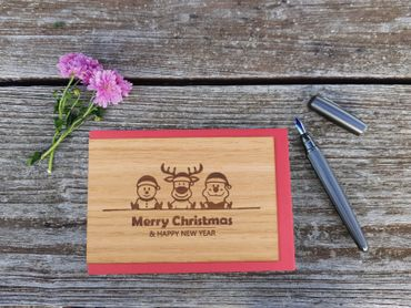 Holzgrußkarte - Merry Christmas - 100% handmade in Österreich - Postkarte, Geschenkkarte, Grußkarte, Klappkarte, Karte, Einladung, Weihnachtskarte – Bild 2