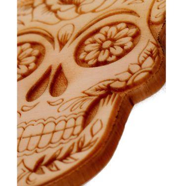 Sugar Skull Anhänger aus Zirbenholz 50 mm  mit Kette Gunmetal – Bild 2