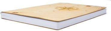 Notizbuch mit Holz Cover in A5 - KOMPASS - Echtholz Notebook zum Reinschreiben Zirbenholz Holzeinband 192 blanko Seiten 90g  – Bild 3